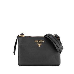 Prada Daino crossbody black leather bag